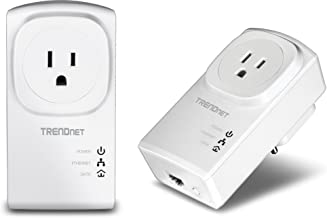 TRENDnet Powerline 500 AV Nano Adapter Kit with Built-In Outlet, With Power Outlet Pass-Through, Includes 2 x TPL-407E Adapters, TPL-407E2K