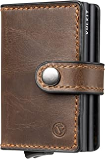 VULKIT Credit Card Holder RFID Blocking Genuine Leather Automatic Pop Up Wallet Slim Money Clip Wallet for Men and Women