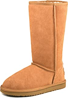 Women's Water Resistant Classic Leather Mid-Calf Snow Boots 5125