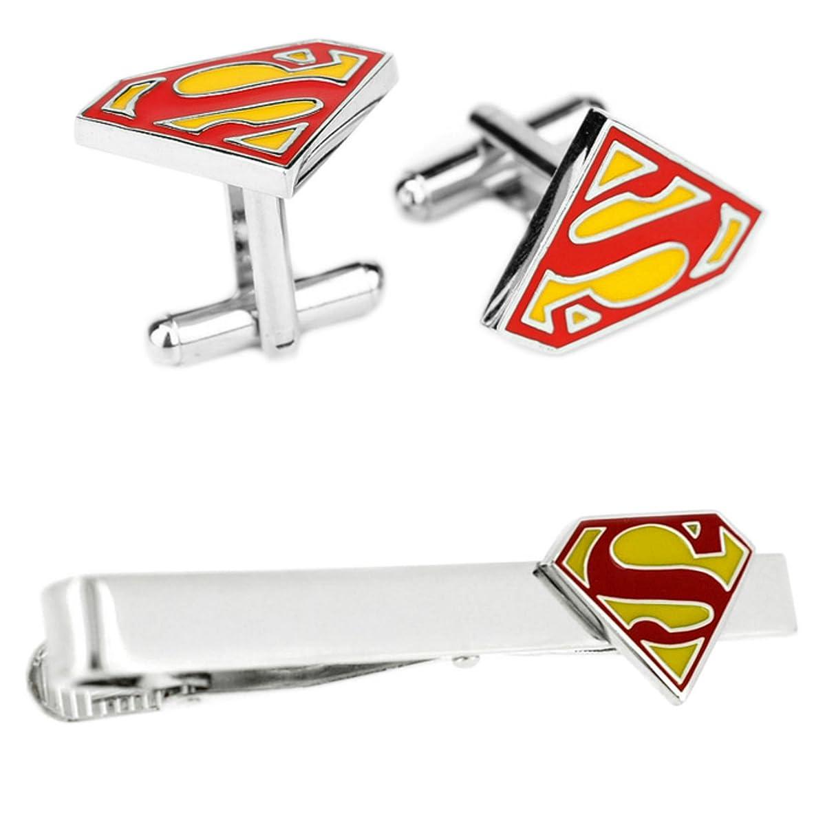 Outlander DC Comics - Superman Cufflink & Tiebar - Set of 2 Wedding Superhero Logo w/Gift Box
