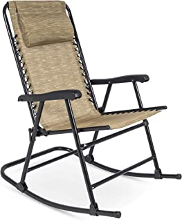 Best Choice Products Foldable Zero Gravity Rocking Patio Recliner Lounge Chair w/ Headrest Pillow - Beige