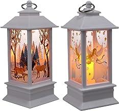 TOYANDONA Vintage Decorative Lanterns Led Indoor Outdoor Christmas Hanging Wind Lanterns Ornament Xmas Night Light Lamps D...