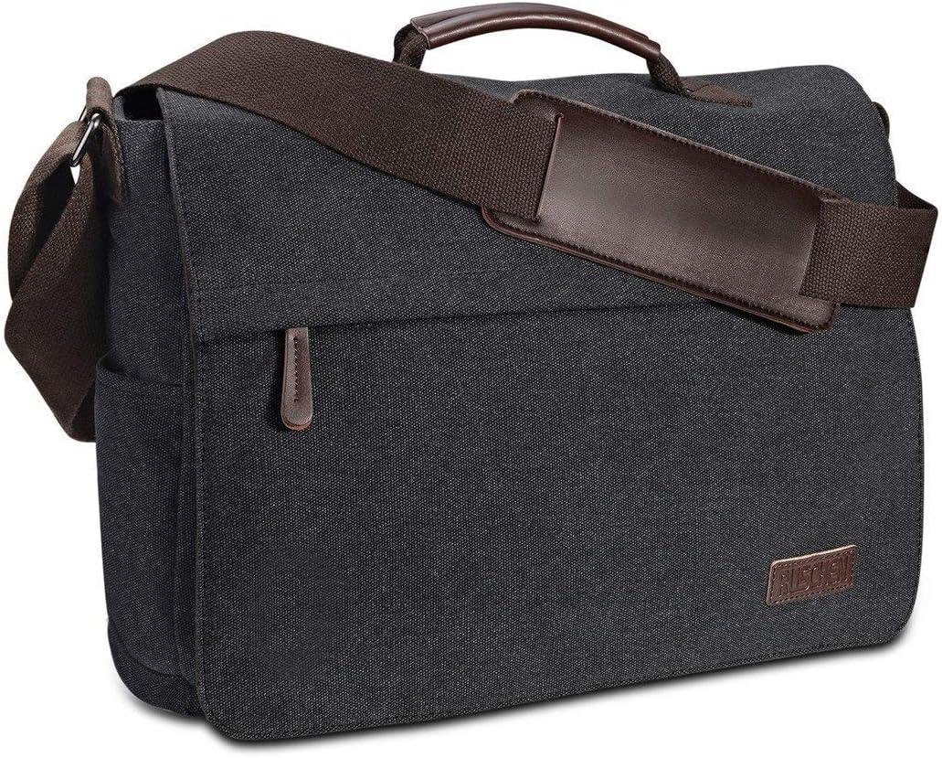 Umhängetasche Herren aus Vintagem Segeltuch, Premium Herrentasche, Laptoptasche für 15,6 Zoll Laptop, Schultertasche/Kuriertasche/Messenger Bag von...
