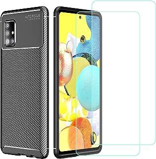 TLING Fodral till Samsung Galaxy A51 5G + 2-pack skärmskydd i härdat glas, [kolfiberdesign] flexibelt TPU-fodral, repfritt...