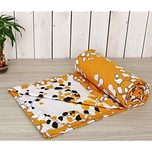 "Trance Home Linen 100% Cotton Malmal Single Dohar 56""X90"" (Mustard White Leaves Abstract Reversible)"