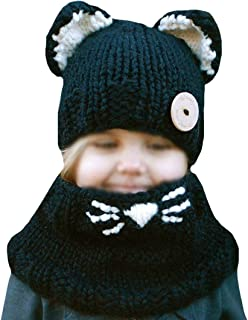 Cute Animal Ear Cat Ear Hat and Scarf Set Winter Lovely Bear Pattern Beanies Knitted Cap for Baby Toddlers Kids