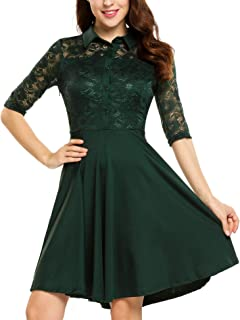 BEAUTYTALK A Line Party Dress Women's Vintage Half Sleeve Floral Lace Cocktail Party Pleated Swing Dress S-XXL
