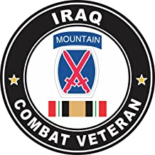 Military Vet Shop US Army 10th Mountain Division Iraq Combat Veteran Window Bumper Sticker Decal 3.8