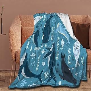 NIUJINMALI Marine Whales Dolphin Killer Throw Blanket Super Soft Warm and Comfortable Fleece Blanket 50x40 Inch for Kid fo...