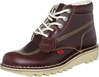 Mens Kick Hi M Core Dark Red Leather Lace Up Ankle Boots Size