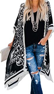 Dokotoo Womens Fashion Print Kimono Tassel Casual Cardigan Loose Cover up