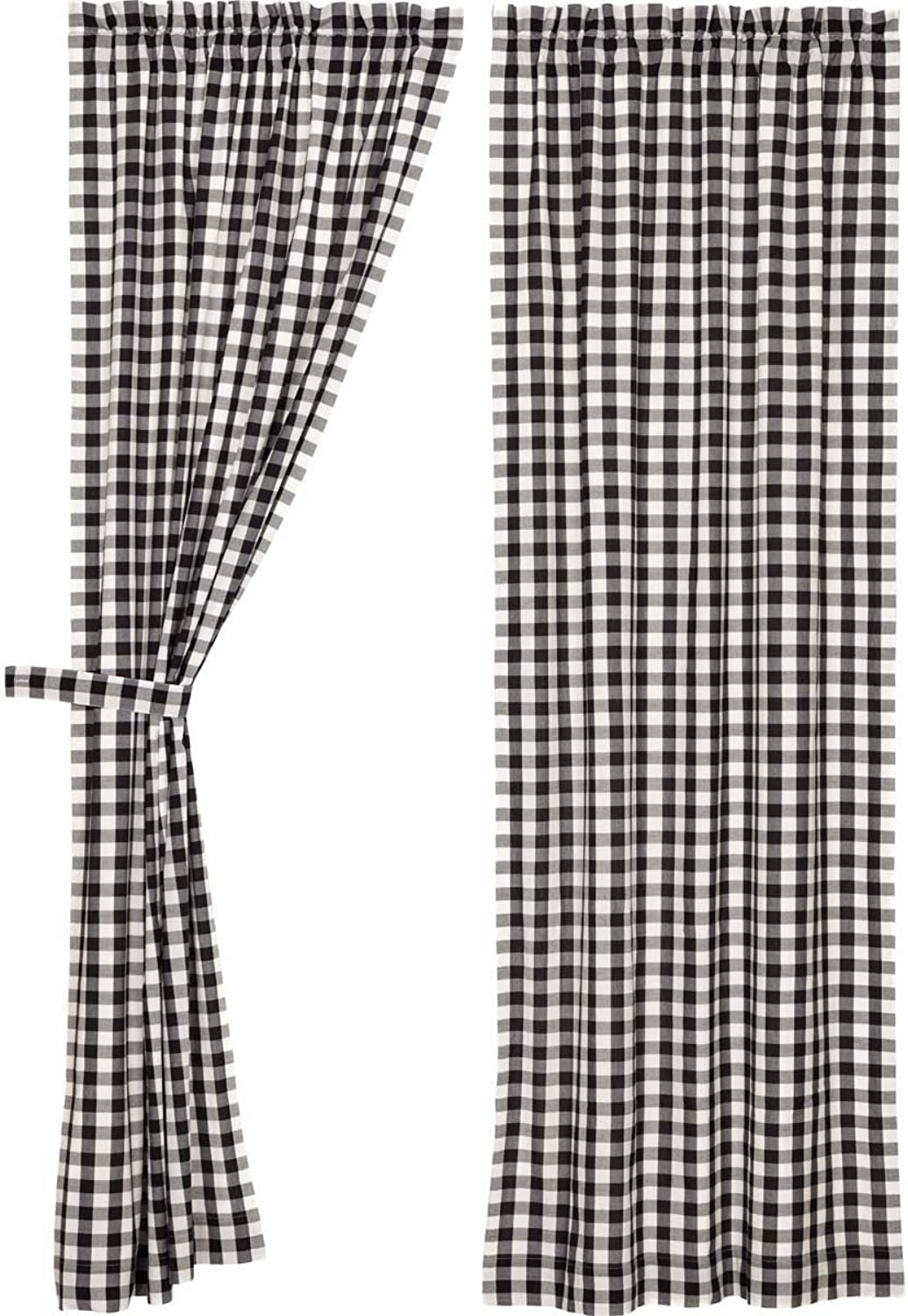 VHC Brands Classic Country Farmhouse Window Annie Buffalo Check White Lined Curtain Panel Pair, Black