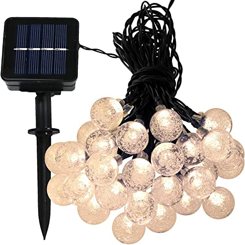 discount Sunnydaze online sale 20-Foot online Outdoor Hanging Solar Globe String Lights LED 30-Count, Warm White online sale