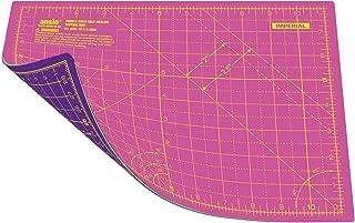 Estera de corte de doble cara Ansio® con 5 capas y guías para cortar en cm y pulgadas, en tamaño A4 (21 x 29 cm / 8 x 11 pulgadas) - Super Rosa/Royal Purple (A4)
