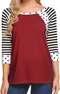 Women's Polka Dots Shirt Striped 3/4 Sleeve Casual Scoop Neck Tops Tee S-XXXL