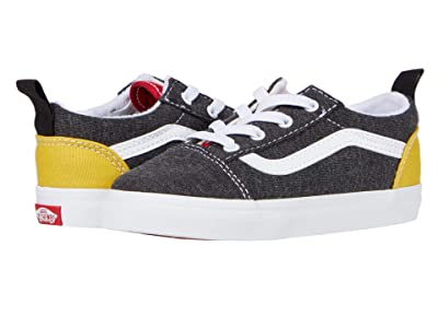 Vans Kids Old Skool Elastic Lace (Infant/Toddler) ((Vans Coastal) Black/True White) Boys Shoes