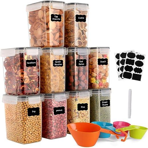 GoMaihe 1.6L Vorratsdosen 10 Set, Aufbewahrungsbox Küche Luftdicht Behälter aus Plastik Mit Deckel, Vorratsgläser zur Aufbewahrung von Nudeln,...