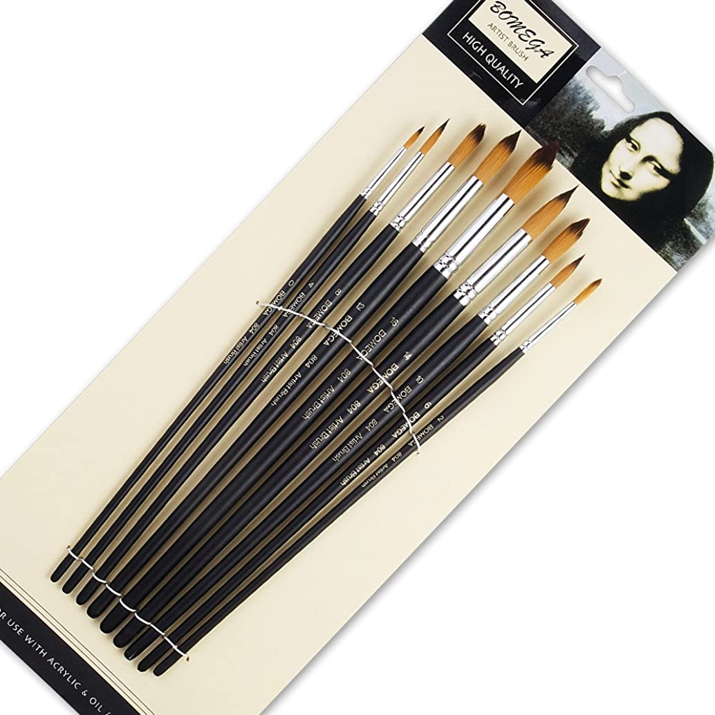 9 Pieces Artist Paint Brushes Nylon Round Point Long Handle Value Set for Oils, Acrylic, Gouache & Watercolor Painting-Lightwish (Round Point)