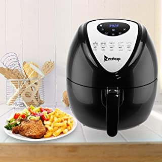 ZOKOP Digital Air Fryer Oven, 5.6Quart 1800W Air Fryer Oilless Cooker, 7 Preset Settings for Fast Healthy Food Oil-Less Low Fat, Non-Stick Air Deep Fryer Cooker with Metal Holder+ Shelf + Food Clip, US Plug (Black)