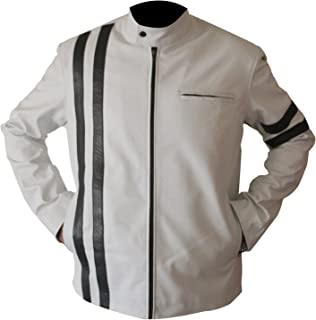 Slim Fitting White Road Riding Motorcycle Bike Leather Jacket