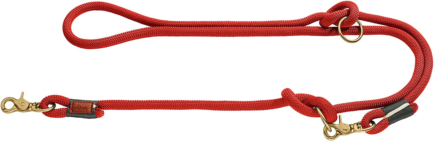 HUNTER Adjustable leash Oss, 12 200 Rope, red