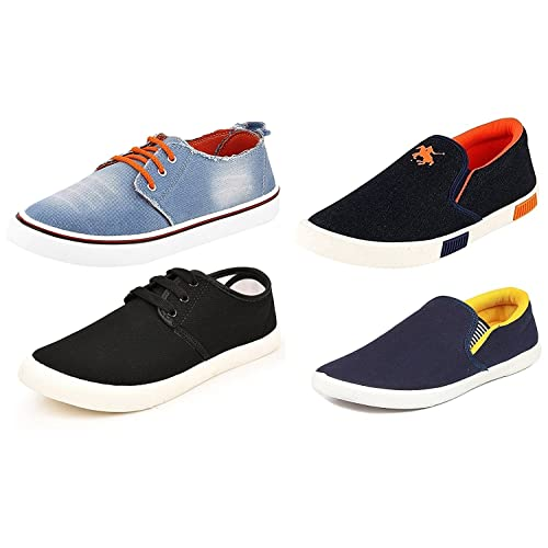 Maddy Men's Orange, Black and Yellow Mesh Sneakers - Pack of 4