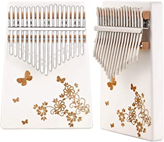 Fashion Metal Kalimba 17 Keys Thumb Pianos Portable Musical Instrument Gifts for Kids Adult Beginners (White(Flower))