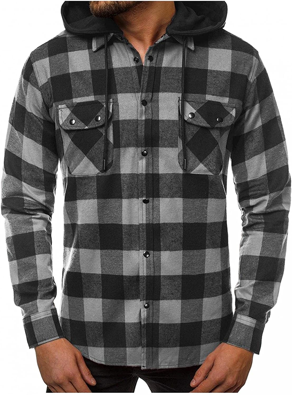 KEEYO Mens Long Sleeve Hoodie Plaid Flannel Shirts Casual Lightweight Button Down Classic Hooded Jackets Outwear