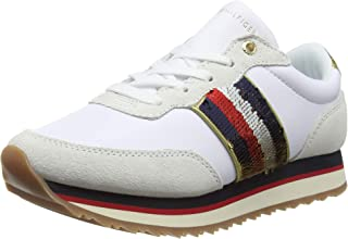 TOMMY HILFIGER Women's Signature Sequinned Retro Trainers Signature Sequinned Retro Trainers