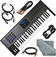 Arturia KeyLab MKII 49 Professional MIDI Keyboard Controller and Software (Black) with Assorted Cables Bundle