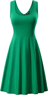 Women's Sleeveless Midi Dress Casual Flared Tank Dress