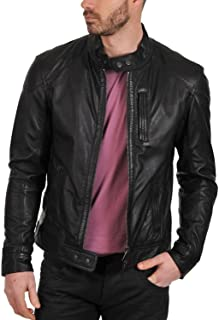 Men's Genuine Lambskin Leather Jacket (Black, Racer Jacket) - 1501069