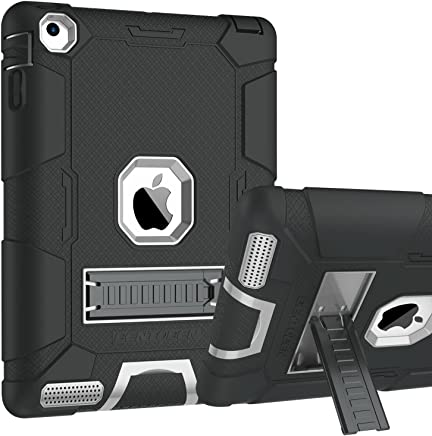 iPad 2 Case, iPad 3 Case, iPad 4 Case, BENTOBEN Kickstand Heavy Duty Rugged Shockproof High Impact Resistant Hybrid Three Layer Armor Full Body Protective Case for Apple iPad 2/3/4th Gen,Black/Gray