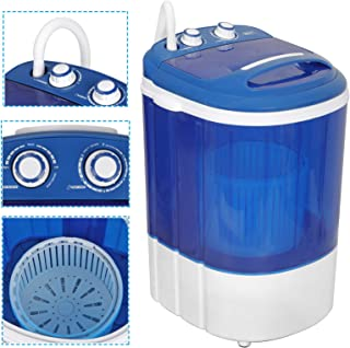 ZENY Portable Mini Laundry Washing Machine 9lbs Capacity Small Semi-Automatic Compact Washer for Apartment,RV,Traveling,Single Translucent Tub