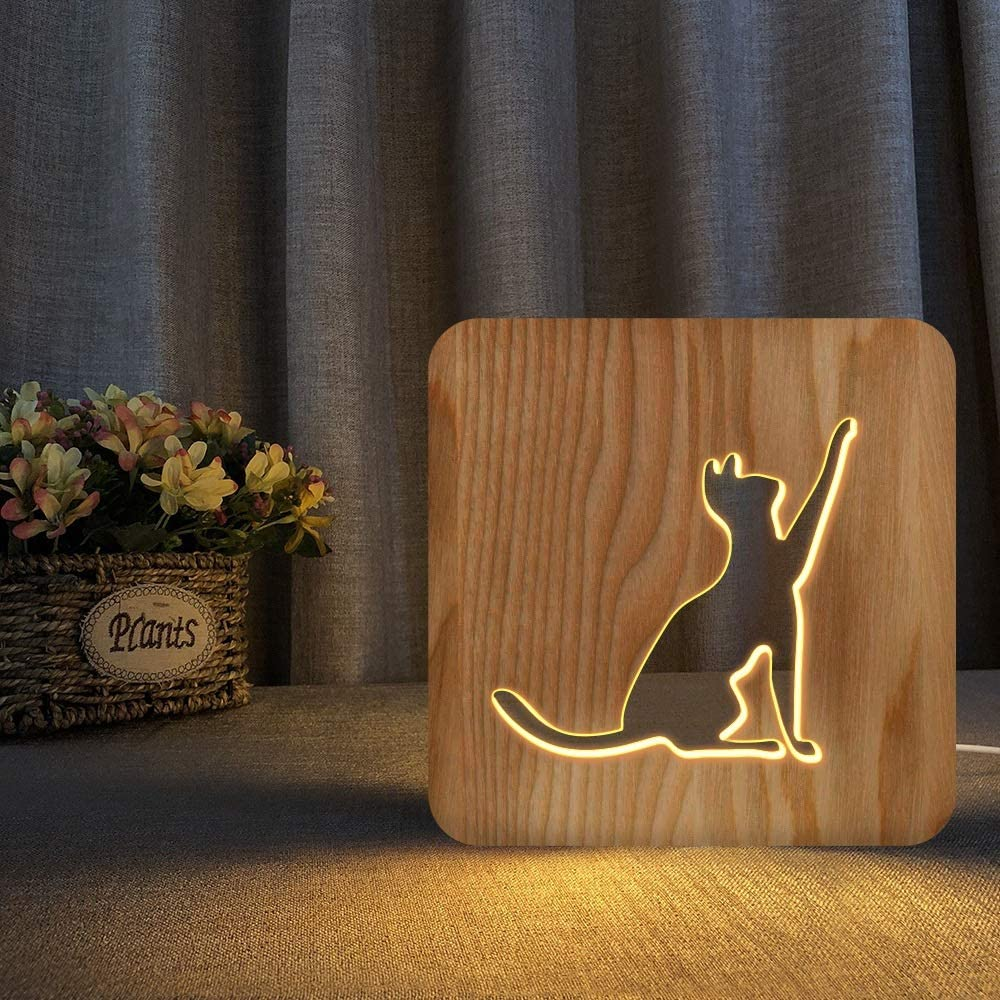 frenma LED Desk Lamp Wooden Hollow Cat 3D Table Decora Large Sales results No. 1 special price