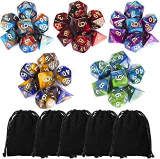 CiaraQ 35 Pieces Polyhedral Dice, Double-Colors Polyhedral Game Dice with 5 Pack Black Pouches for RPG Dungeons and Dragons Pathfinder DND RPG MTG D20 D12 D10 D8 D4 Table Game
