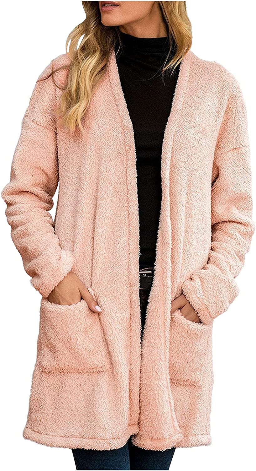 Long Open Front Cardigans for Women Long Sleeve Loose Lightweight Sweaters Outwear with Pockets Fashion Casual Coat