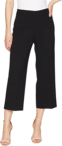 Cropped Crepe Flat Front Pants