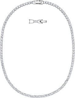 SWAROVSKI Women's Tennis Deluxe Necklace, White, Rhodium plated