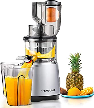 Juicer Machines AMZCHEF Slow Juicer Slow Masticating Juicer Cold Press Juicer Vegetable&Fruit Extractor Reverse Function Quie