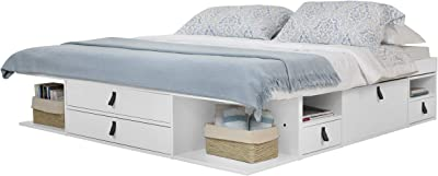 Amazon Com Memomad Bali Storage Platform Bed With Drawers Queen Size Off White Kitchen Dining