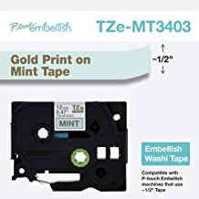 Brother P-Touch Embellish Gold Print on Mint Washi TZeMT3403 Matte Tape,