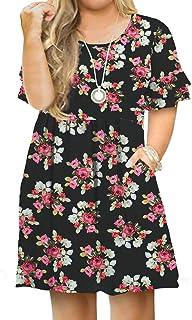 Women's Plus Size Short Sleeve Dress Casual Pleated Swing...
