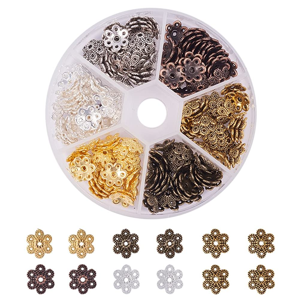 PandaHall Elite About 180 Pcs Tibetan Style Alloy Flower Petal Bead Caps Spacers 10x9.5x3mm for Jewelry Making 6 Colors