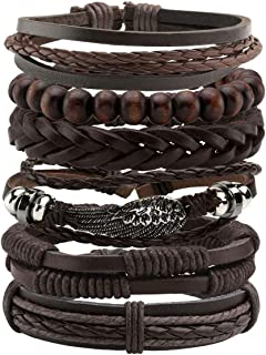 Manfnee 6-12PCS Braided Faux Leather Bracelet Punk Cuff Wrap Bracelets for Men Women Adjustable