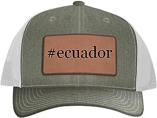 One Legging it Around #Ecuador - Leather Hashtag Dark Brown Patch Engraved Trucker Hat