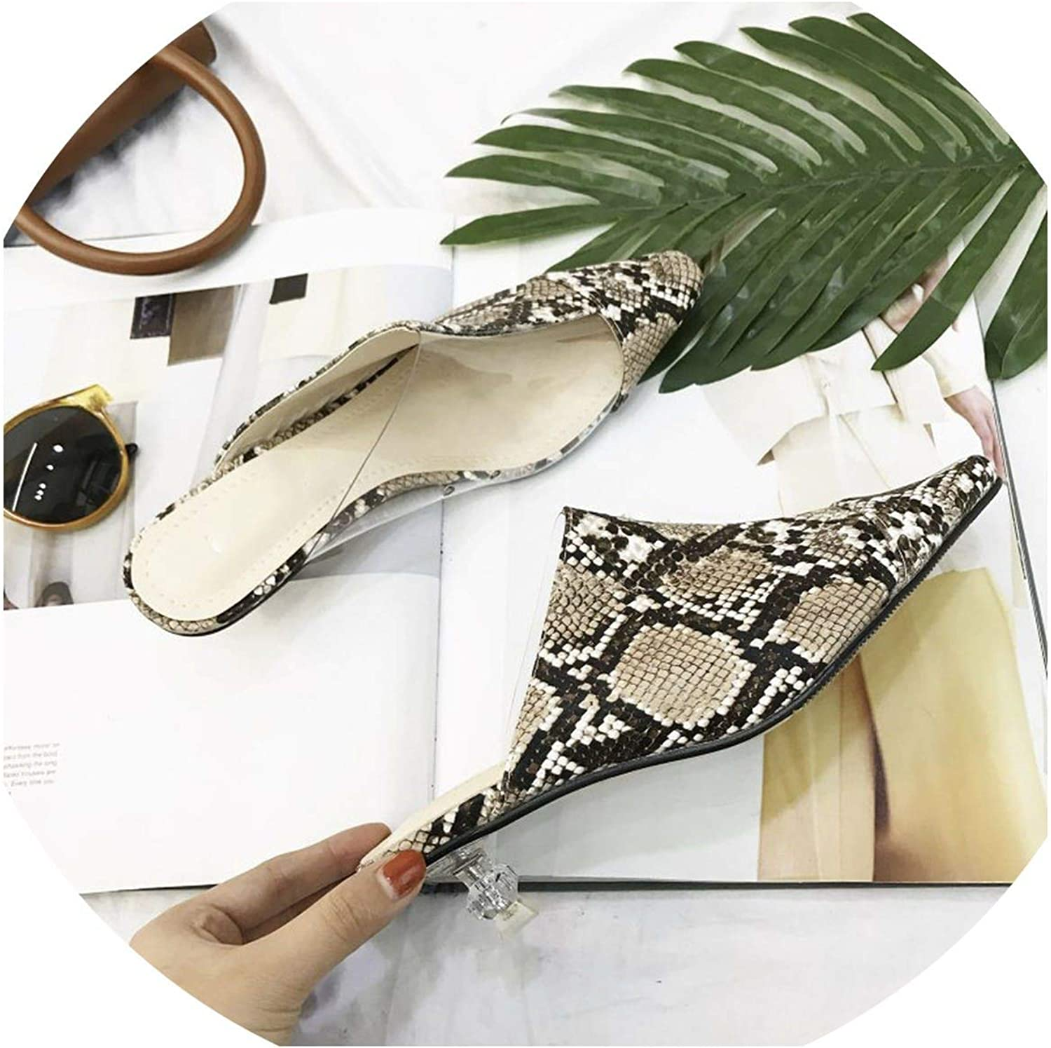 Monicas-Dream Women Slippers Fashion Pointed Toe Clear Transparent Low Heels Snake Print Mules shoes Women Flip Flops Comfortable Sandals