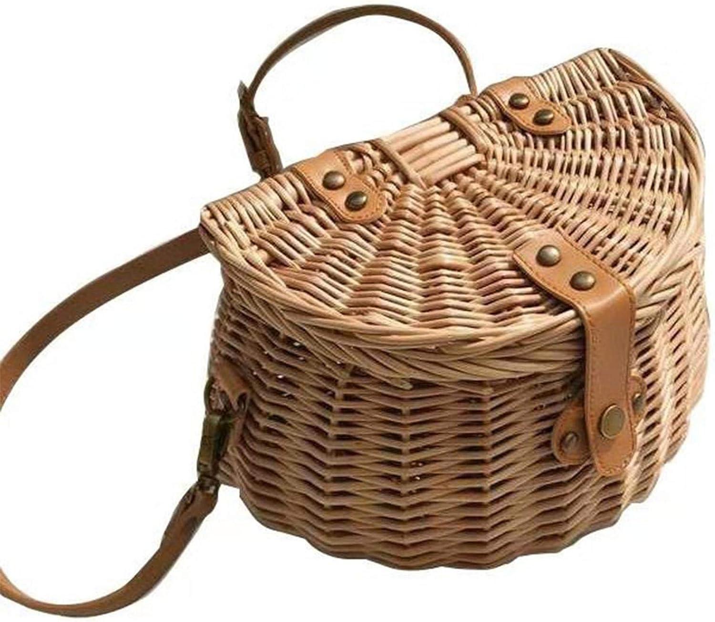 YPeng Bicycle Wicker Woven 在庫一掃 Basket Handmade Lid 人気急上昇 Bike with Rattan
