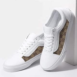 Vans White Old Skool x GG Print Pattern Custom Handmade Shoes By Fans Identity