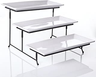 """3 Tier Collapsible Thicker Sturdier Plate Rack Stand With Plates - Three Tiered Cake Serving Tray - Dessert Fruit Presentation - Party Food Server Display - 3 White 12' x 6"""" Porcelain Platters Incl."""
